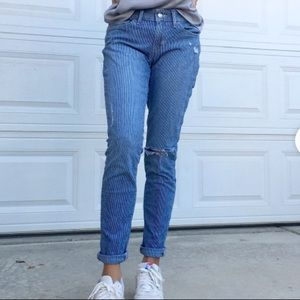 Levi's pinstripe distressed 711 skinny jeans